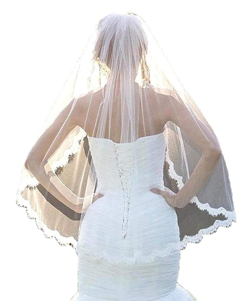 White Ivory 1M Tulle Lace Edge Short Wedding Bridal Veils with Comb