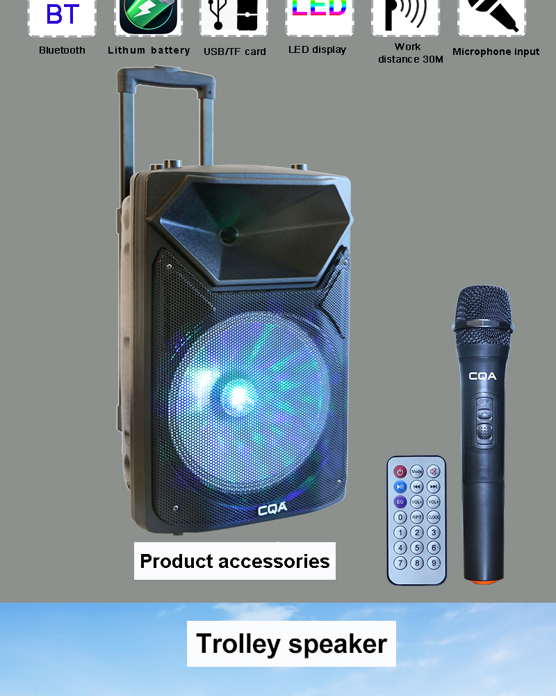 Outdoor karaoke dj bt trolley speakers 12V powered with led disco light and mic