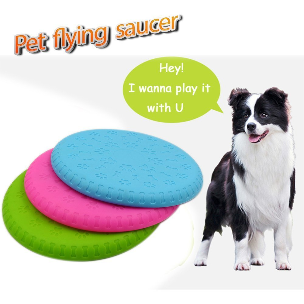 Dog Frisbee Toy,Pet Training Cyber Rubber Flying Saucer Interactive Toys,Suitable For Small, Medium, or Large Dogs Outdoor Flight,1Pcs Random Color