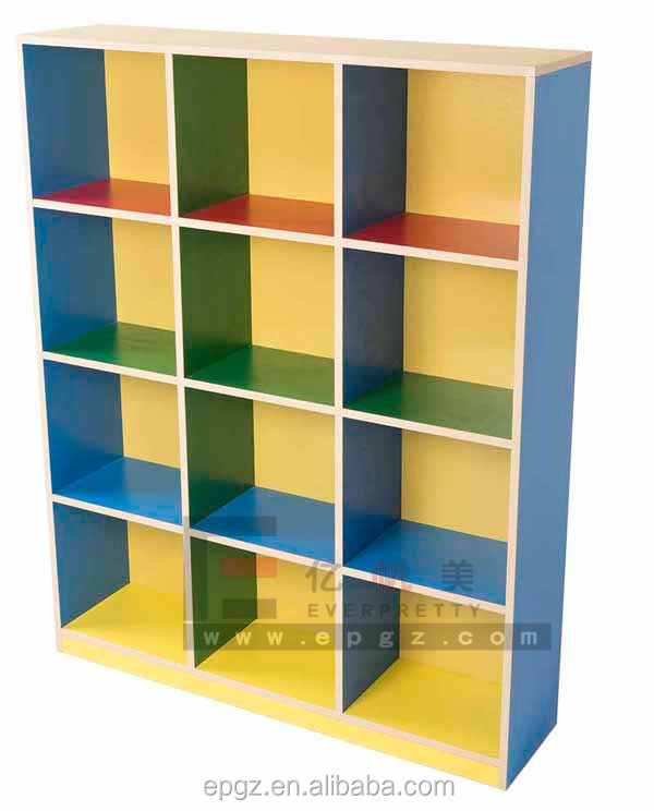 Modern Nursery School Furniture Kids Wooden Bookshelf With Lattice