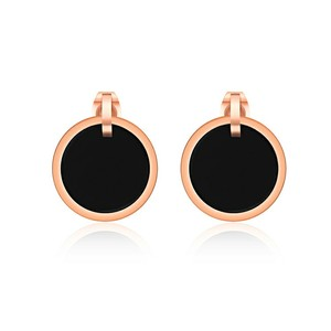 Marlary Stainless Steel Black Stud Earring Mens Women Round Rose Gold Earrings Vintage Earrings