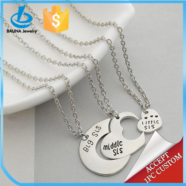 2018 customized letters jewelry big middle little three split heart necklace for sisters