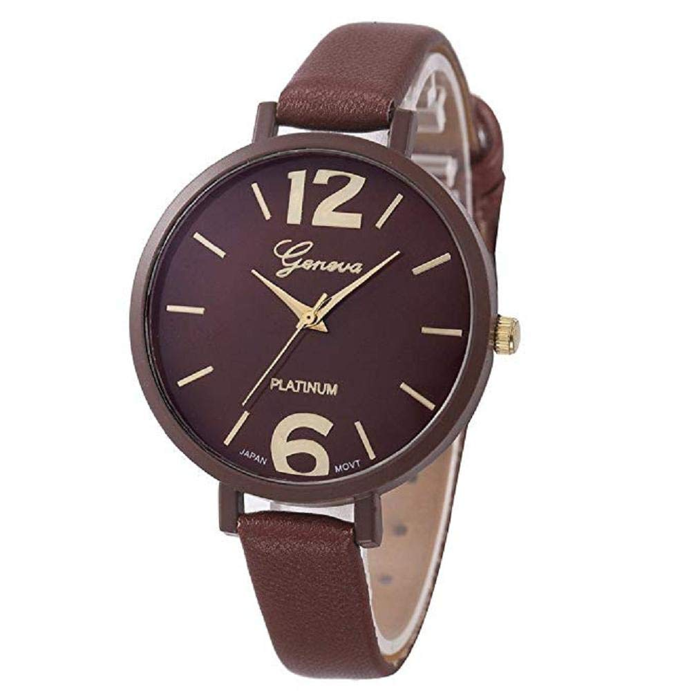 Womens Watches,Windoson Unique Analog Fashion Lady Watches Female Watches Casual Wrist Watches for Women,Round Dial Case Comfortable Faux Leather Watch (Brown)
