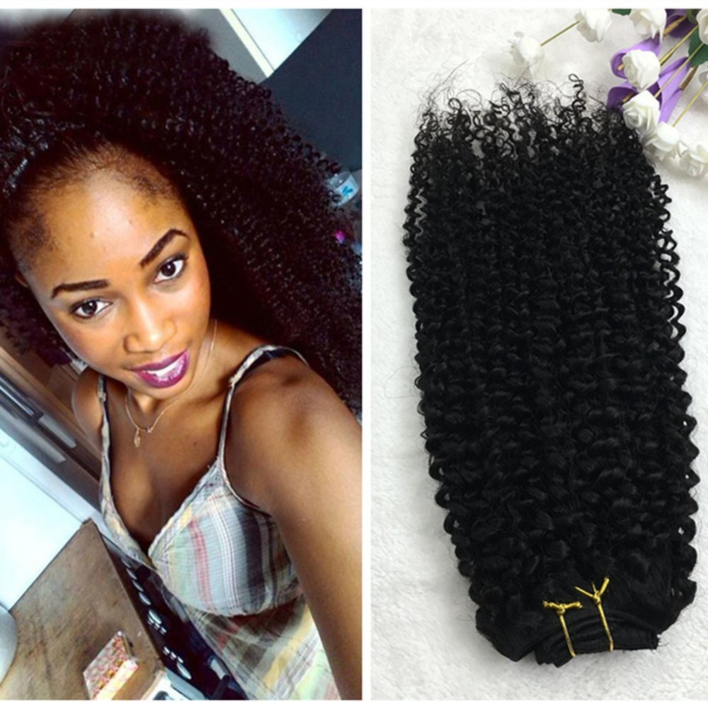 "Full Shine 14"" 7 Pcs 100g Curly Hair Clip Ins For African Hair Extensions American Women Natural Hair Full Head Clip In Remy Human Hair Extensions Curly Black Remy Human Hair for Black Women"