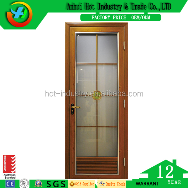 High quality wooden color German brand hardware Aluminum casement window & door double glazed windows with grill