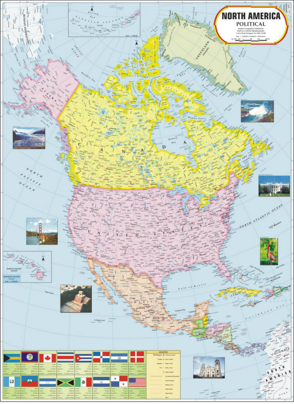 North America Political Map - Buy North America Map Product on Alibaba.com