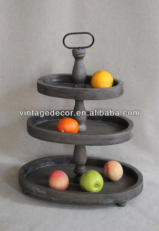 Luckywind Recycle 3 Tier Wood Oval Tray Stand Wooden Kd Shelf Fruit Product On Alibaba