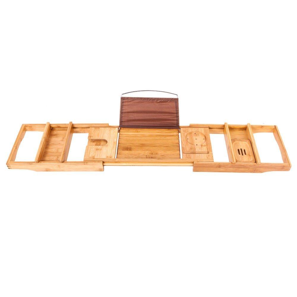 Simply Silver -Bathtub Bamboo Rack Caddy Bamboo Shelf Shower Book Tray Expandable Holder