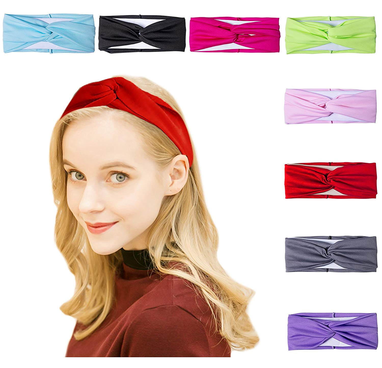 Amandir 8 Pack Headbands for Women Boho Cute Twist Headband Criss Cross  Headband a8f2ca36e70