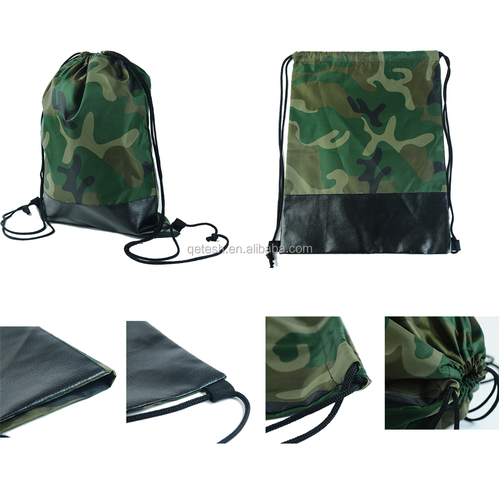 Accept customised print Camo 210D polyester drawstring bag