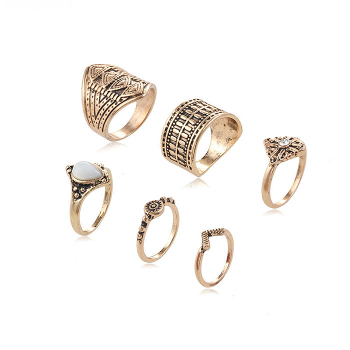 Ally express cheap wholesale ring women six pieces vintage alloy ring set