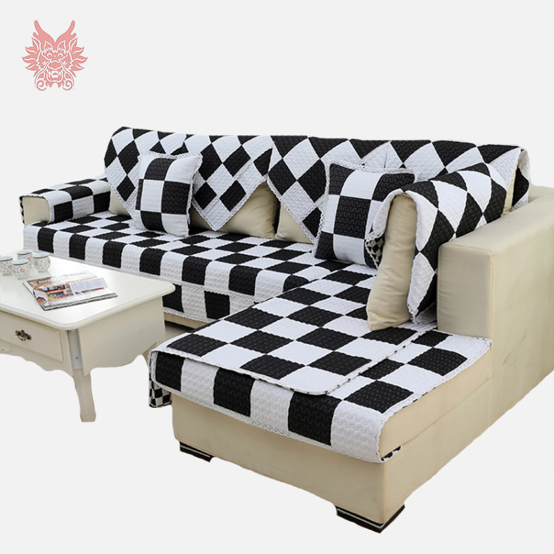 buy modern style black purple plaid print sofa cover pure100 cotton quilting. Black Bedroom Furniture Sets. Home Design Ideas