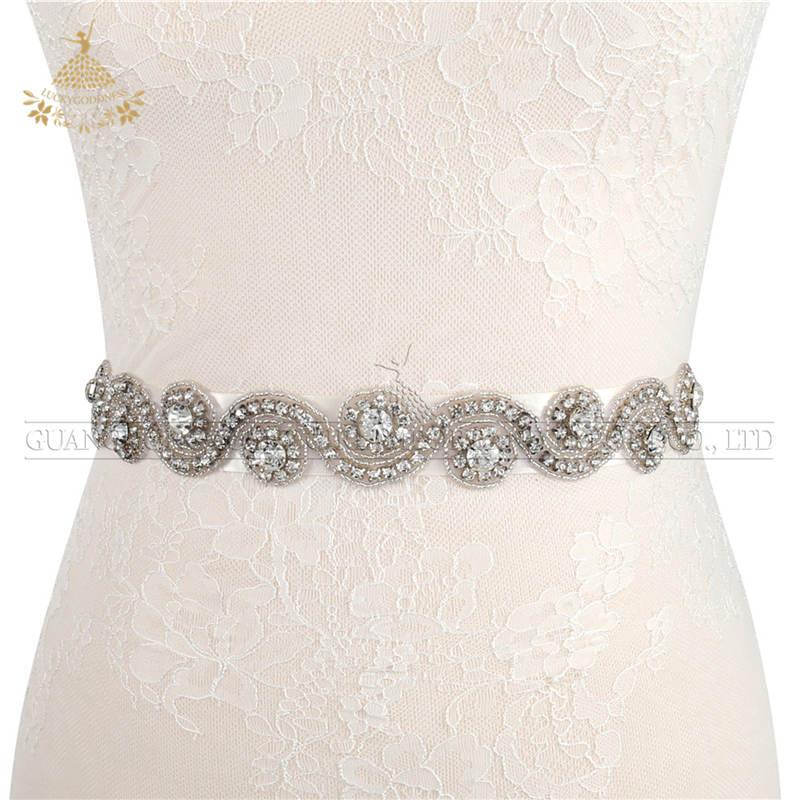 Oem Fabriek Groter Maken Hoeveelheid Crystal Rhinestone Bridal Off-Wit Riemen