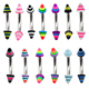 Colorful Acrylic Cones Curved Barbell Body Jewelry Piercing Eyebrow