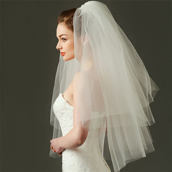 fashion wedding veil white ivory two layers women veil with comb
