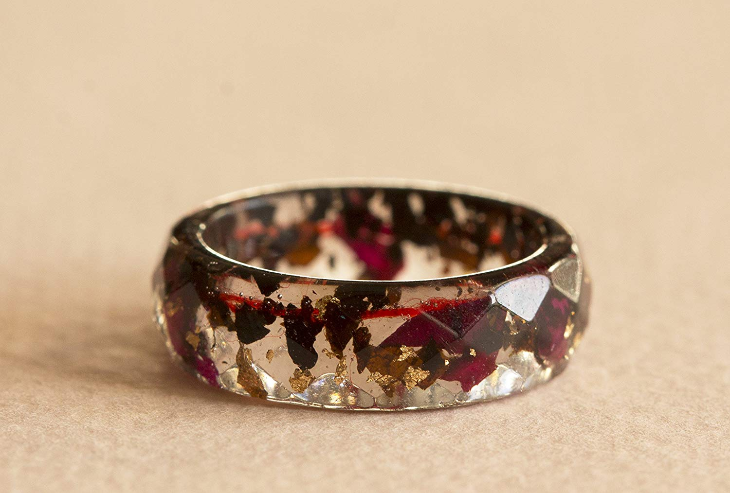 Resin Ring With Real Indian Black Tea Leaves, Rose Petals, Gold Flakes and Red Thread