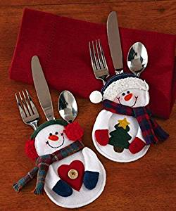 christmas trees santa snowman christmas christmas decorations indoors silverware holder christmas decorations lighted pocket holiday party