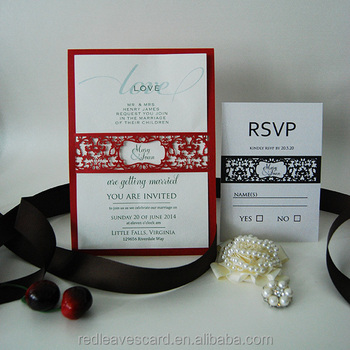 Red Unique White Wedding Invitation Cards Pocket Buy Red