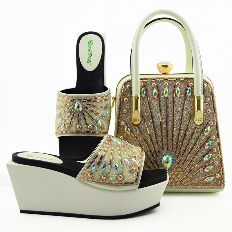 Lady Party shoes bag set Beautiful italian shoes bag design High Quality Luxury pu shoes to match bag