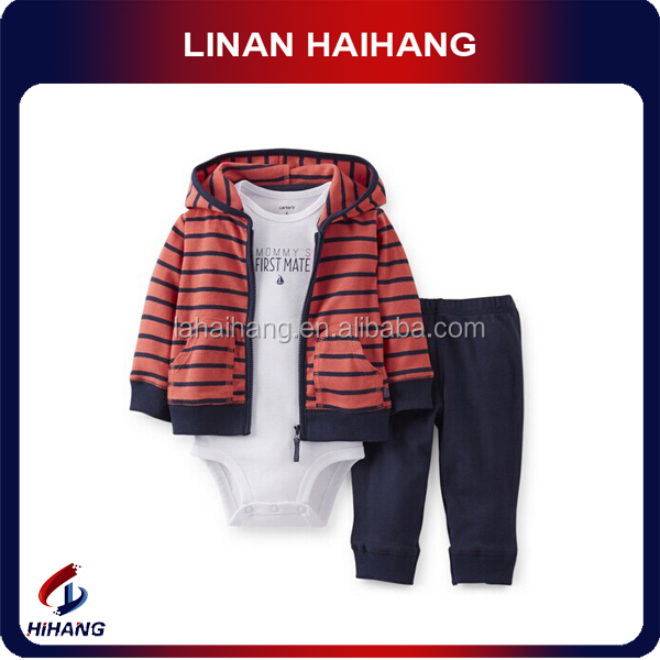 China hot sale fashion 3 pieces cotton first impressions baby clothes