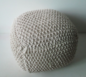 Wholesales Indian Crochet Pouf Ottoman Square Cotton Knitted Foot Stool Pouf