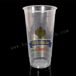 20oz PP material type hot-sale custom printed plastic cup,disposable long neck plastic printed beer cups FDA