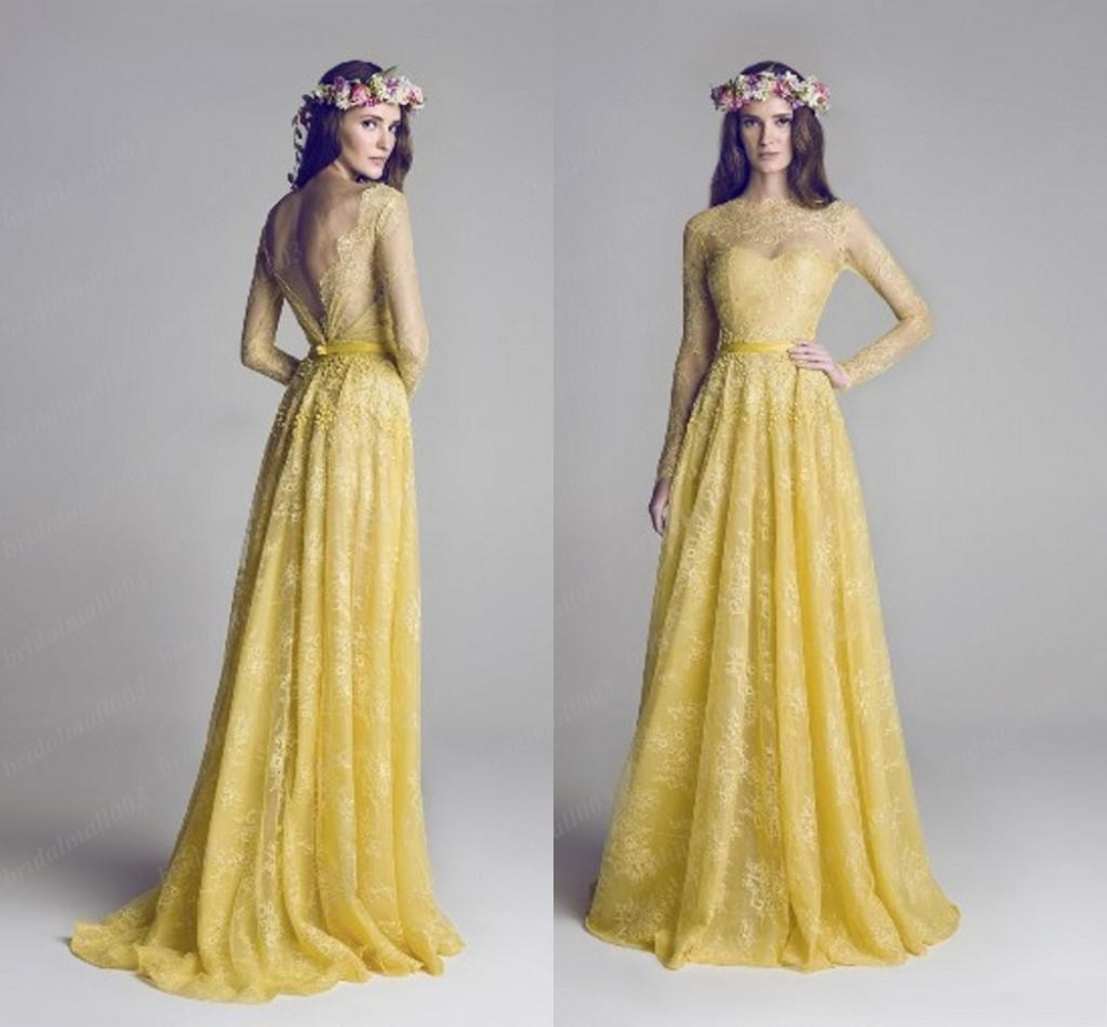 Yellow Beach Wedding Dresses Fashion