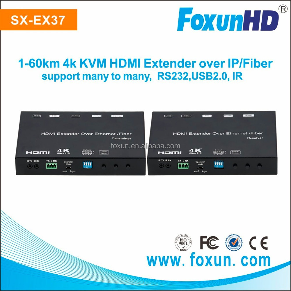 Support 4K UHD @30Hz SX-EX37 Wireless HDMI Extender upto 60km range over Fiber with IR RS232 control