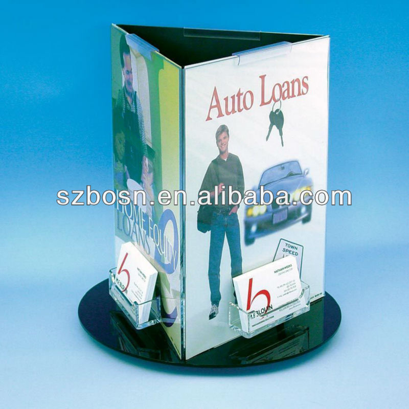 Rotating acrylic pamphlet stand 3 sides w/ name card holder