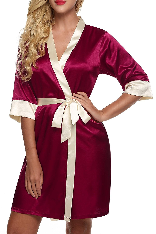 Get Quotations · bulges Pajama Set Silk Pajamas for Women Satin Sleepwear  for Women Women s Satin Sleepwear Robes 0c187450c