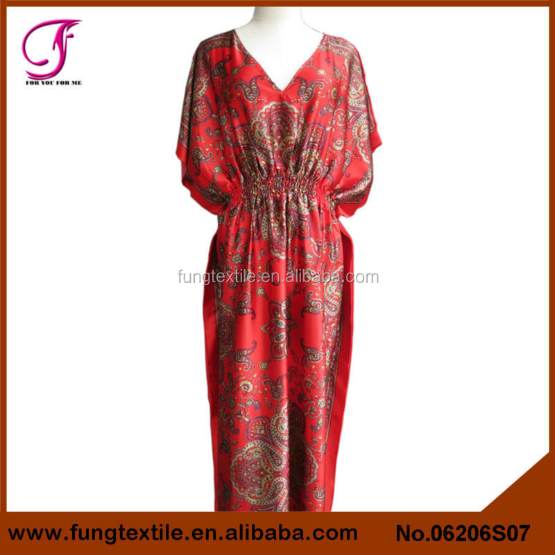 06206S07 Women Long Design Satin Floral Caftan Pattern