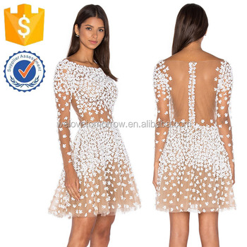 a5558fcc94a6 Nude Long Sleeve White Floral Embellished Bridesmaid Mini Dresses  Manufacture Wholesale Fashion Women Apparel (TF0788D