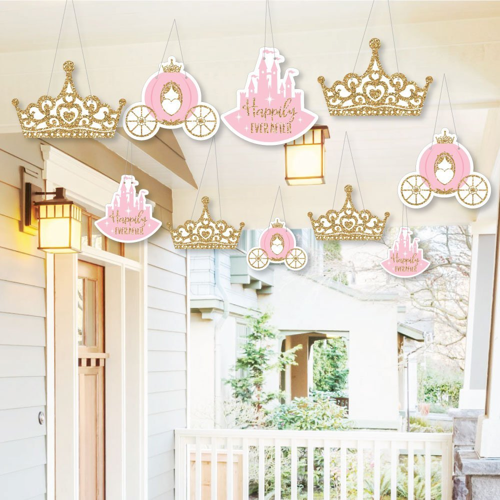 Hanging Little Princess Crown - Outdoor Hanging Decor - Pink and Gold Princess Baby Shower Or Birthday Party Decorations - 10 Pieces