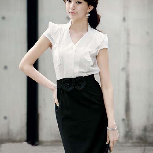 Nj1001 Korean Stylish Formal Dress New Design Women Office Dress