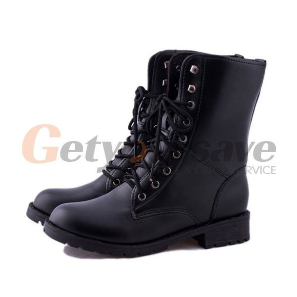 ab8689d84a3 Get Quotations · 2015 New Hot Women Winter Boots Black New Women s Lace-up Ankle  Military Army Combat