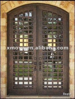 Moderne double entr e en fer forg portes avec isolation de fen tre en verre buy portes d for Portes et fenetres en fer forge
