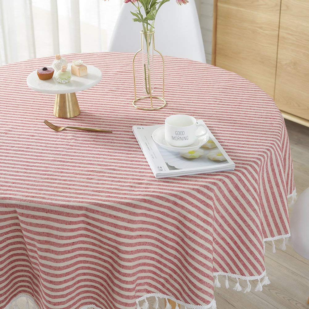 Get Quotations · ColorBird Stripe Tassel Tablecloth Cotton Linen Dust Proof  Table Cover For Kitchen Dinning Tabletop Decoration