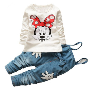 Cartoon Long Sleeved T-shirts Tops Bib Overalls Girl Outfits Kids Bebes Jogging Suit