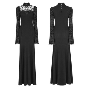 Gothic Knitted long Trumpet sleeves black sexy Dress