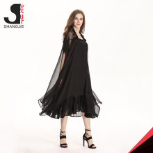 Black Short Sleeve Shirt Collar See Through Muslim Gauzy Ladies Long Summer Coats