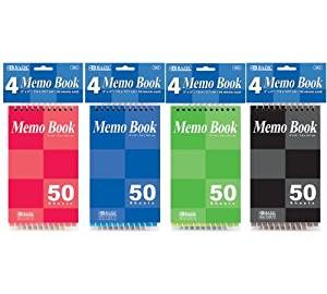 "BAZIC 50 Sheets 3"" X 5"" Top Bound Spiral Memo Books (1 Pack of 4)"