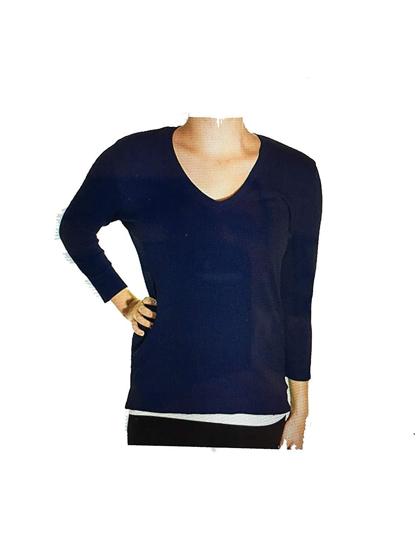 525 America New Womens V-Neck Sweater (S, Dark Navy)