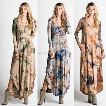 Female Gown Dresses Online Women's Long Sleeves Bohemian Sexy V Neck Fit Tie-dye Maxi Dress Plus Size