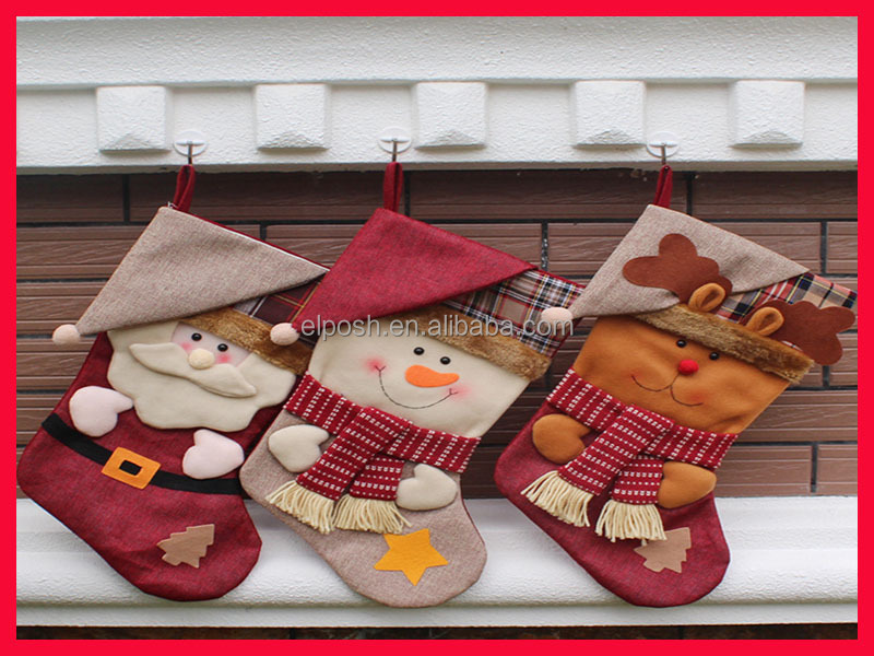 Wholesale Monogram Santa Deer Candy Christmas Stocking