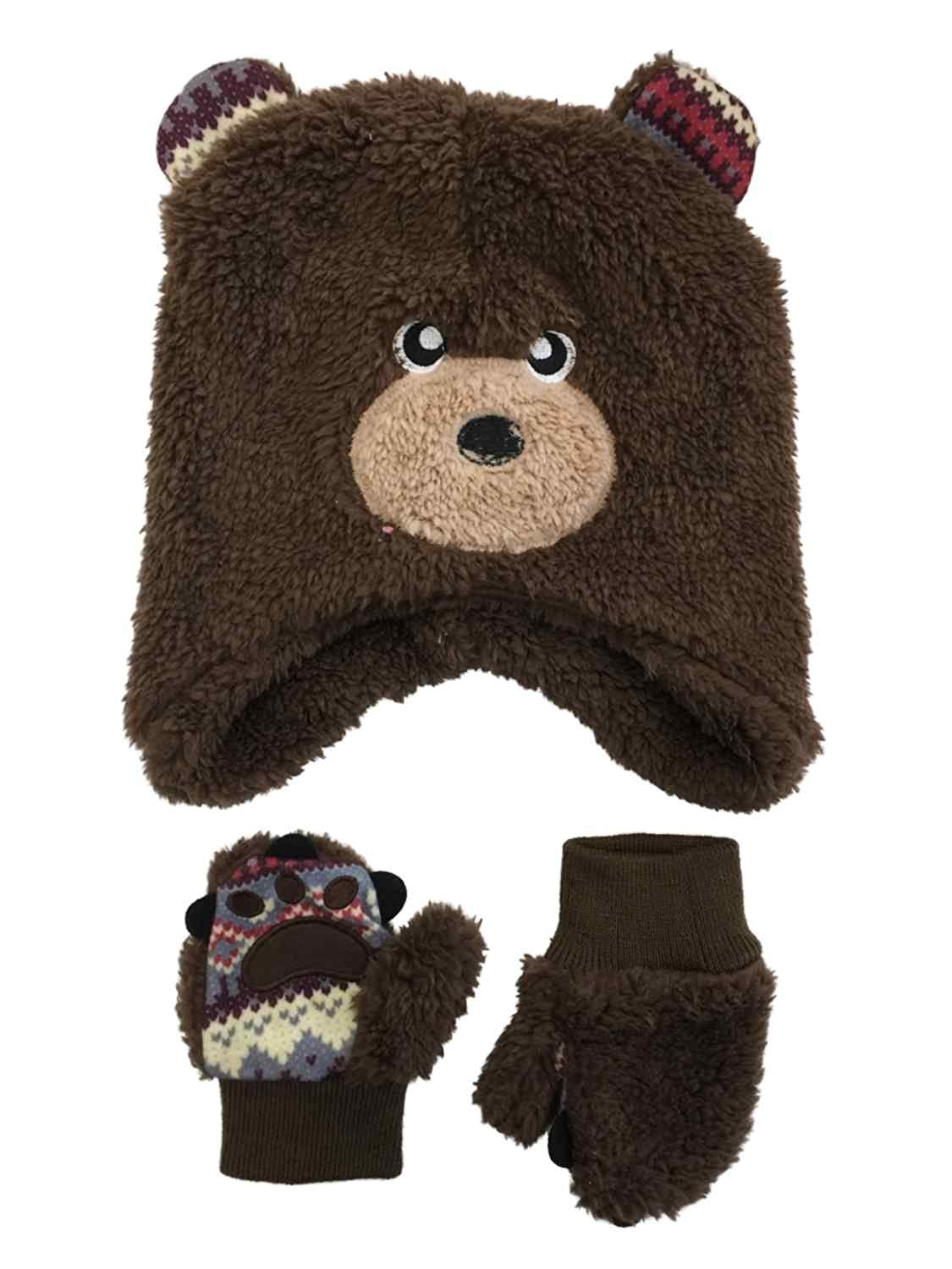 3dbede69308bd Get Quotations · Mystic Toddler Boys Fuzzy Brown Bear Beanie Hat   Mittens  Set