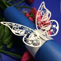 White butterfly shape laser cut paper Party table decoration paper towel holder/napkin ring