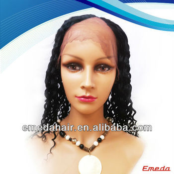 2014 stock cheap 100% human hair kinky curly u part wig