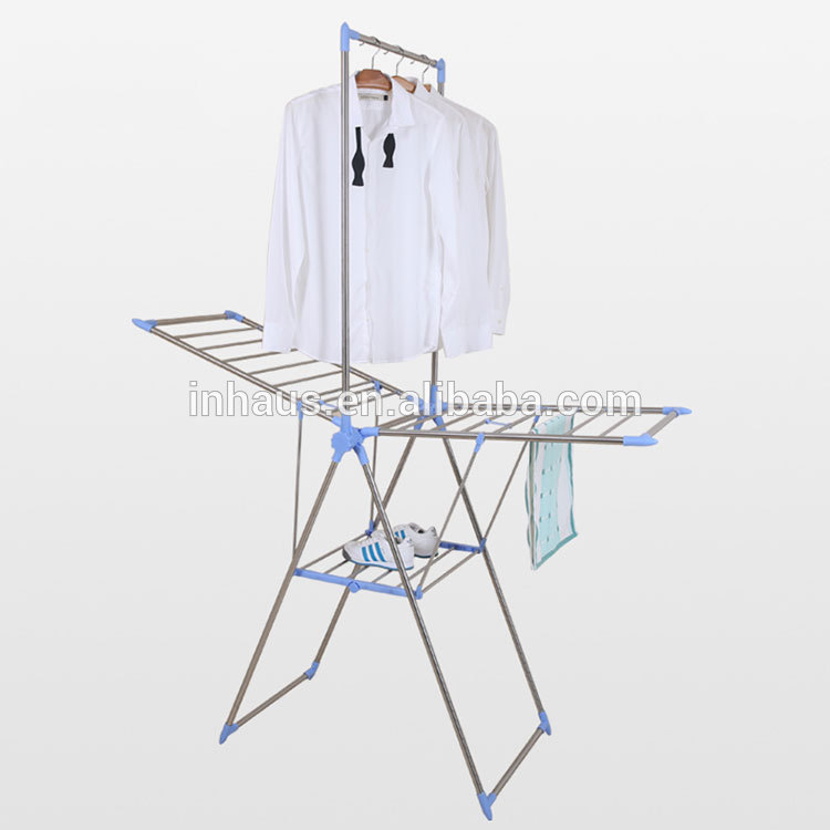 Wing Shape Stainless Steel Folding Portable Clothes Wash Rack