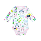 Eco Organic Pink Lovely Cartoon Baby Romper Custom Wholesale Anime Baby Girls Clothes