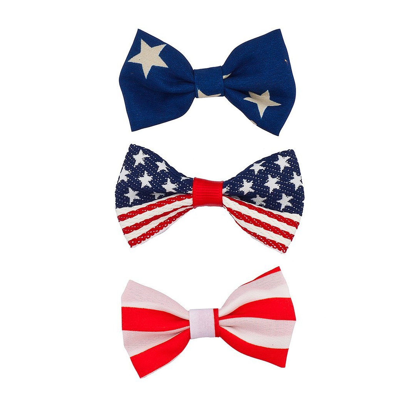 Lux Accessories July 4th Independence Day Patriotic Bow Pack (3PC)